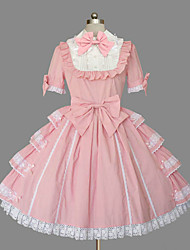 cheap -Princess Sweet Lolita Dress Women's Girls' Cotton Japanese Cosplay Costumes Plus Size Customized Pink Ball Gown Solid Color Fashion Cap Sleeve Bell Sleeve Short Sleeve Short / Mini / Tuxedo