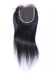 Недорогие -Бразильские волосы 4x4 Закрытие Прямой Бесплатный Часть / Средняя часть / 3 Часть Швейцарское кружево Натуральные волосы