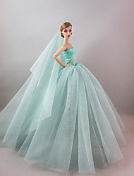 cheap -Doll accessories Doll Clothes Doll Dress Wedding Dress Party / Evening Wedding Ball Gown Synthetic Yarn Tulle Lace Polyester Spandex Lycra Terylene For 11.5 Inch Doll Handmade Toy for Girl's Birthday