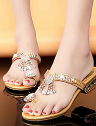cheap -Women's Sandals Crystal Sandals Flat Heel Open Toe Rhinestone PU(Polyurethane) Comfort / Novelty / Slingback Walking Shoes Summer / Fall Gold / Silver / Wedding / Party & Evening / Party & Evening