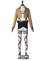 cheap -Inspired by Attack on Titan Eren Jager Anime Cosplay Costumes Japanese Cosplay Suits Solid Colored Long Sleeve Top Pants Apron For Men's Women's / Belt / More Accessories / T-shirt / Belt