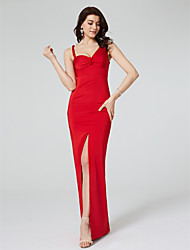 cheap -Sheath / Column Celebrity Style Furcal Formal Evening Dress Straps Sleeveless Floor Length Satin with Ruched Draping Split Front 2020