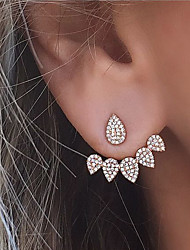 cheap -Women's Cubic Zirconia tiny diamond Stud Earrings Jacket Earrings Teardrop Ladies Fashion Euramerican Bling Bling everyday Earrings Jewelry Gold / Silver For Wedding Party Daily Masquerade Engagement