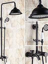 cheap -Antique Centerset Rain Shower with  Ceramic Valve Two Handles Three Holes for  Oil-rubbed Bronze  Shower Faucet