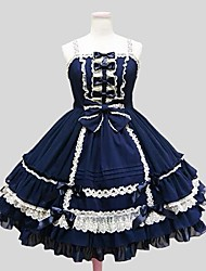 cheap -Princess Gothic Lolita Dress Women's Girls' Velvet Chiffon Japanese Cosplay Costumes Solid Color Knee Length / Petticoat