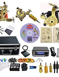 abordables -BaseKey Kit de tatouage professionnel Machine à tatouer - 3 pcs Machines de tatouage, Professionnel 20 W Source d'alimentation LED 3 machine x tatouage en alliage pour la doublure et l'ombrage