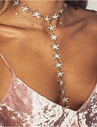 Недорогие -Жен. Y Ожерелье Слоистые ожерелья С кисточками Длиные Дамы На заказ Уникальный дизайн кисточка Стразы Сплав Золотой Серебряный Ожерелье Бижутерия Назначение