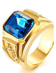 cheap -Men's Statement Ring Ring Signet Ring Sapphire Gold / Black Gold / Blue Gold-Wine Titanium Steel Square Personalized Punk Rock Christmas Gifts Wedding Jewelry Solitaire