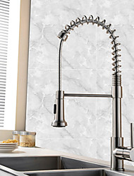 cheap -Kitchen faucet - Single Handle One Hole Nickel Brushed Pull-out / Pull-down Vessel Contemporary / Art Deco / Retro / Modern Kitchen Taps