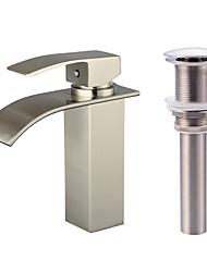 cheap -Faucet Set - Waterfall Nickel Brushed Centerset Single Handle One HoleBath Taps