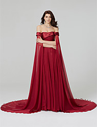 cheap -A-Line Off Shoulder Court Train Chiffon Beautiful Back Cocktail Party / Formal Evening / Holiday Dress 2020 with Beading / Pleats
