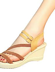 cheap -Women's Sandals Wedge Heel PU Comfort Summer Black / Dark Brown / White