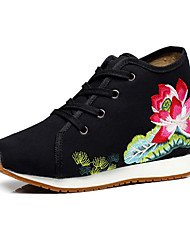 cheap -Women's Oxfords Espadrille Flat Heel / Chunky Heel Round Toe Buckle / Flower Canvas Comfort / Novelty / Embroidered Shoes Walking Shoes Summer / Fall White / Black