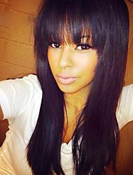 Недорогие -человеческие волосы Remy Полностью ленточные Парик С чёлкой стиль Бразильские волосы Прямой Парик 130% Плотность волос с детскими волосами Природные волосы Парик в афро-американском стиле 100