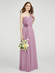 cheap -Sheath / Column One Shoulder Floor Length Chiffon Bridesmaid Dress with Draping / Criss Cross / Ruched