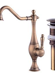 Недорогие -Смеситель - Широко распространенный / Вращающийся Античная медь По центру Одной ручкой одно отверстиеBath Taps