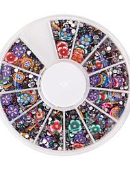 cheap -resin rhinestone polymer clay flower 3d nail art box glitters stickers randomly mixed for diy decoration wheels of 900pcs