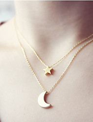 cheap -Women's Pendant Necklace Moon Star Crescent Moon Basic Alloy Gold Silver Necklace Jewelry For Christmas Gifts Wedding Party Special Occasion Birthday Congratulations