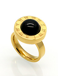 cheap -Men's Women's Band Ring Agate Black Agate Titanium Steel Circle Personalized Geometric Unique Design Christmas Gifts Party Jewelry Alphabet Shape family crest