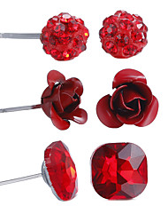 cheap -Women's Jewelry Set Flower Ball Flower Ladies Simple Style Cute Africa Earrings Jewelry Red For Anniversary Birthday Housewarming Thank You 6pcs