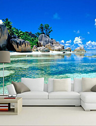 cheap -Rocky Beach Custom 3D Large Wall Covering Mural Wallpaper Fit Restaurant Bedroom Office Sea View