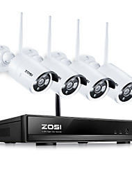 cheap -ZOSI® Wireless Security Cameras System 4CH 1080P HD WiFi NVR and 4pcs 100ft Night Vision 1.0MP 720P Indoor Outdoor Wireless CCTV Cameras AUTO-PAIR Smartphone Remote Access