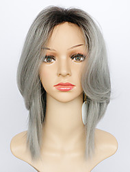 cheap -Synthetic Wig Natural Wave Natural Wave Layered Haircut With Bangs Wig Medium Length Grey Synthetic Hair Women's Ombre Hair Dark Roots Gray