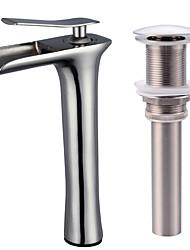 Недорогие -Современный По центру Водопад Керамический клапан Одной ручкой одно отверстие Матовый никель , Ванная раковина кран