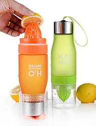 cheap -Fruit Infuser Water Bottle 650 ml Plastics PC Portable Multi-function for Camping / Hiking Climbing Beach Black Green White Orange Yellow