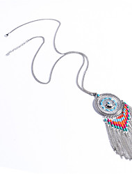 cheap -Women's Turquoise Statement Necklace Tassel Long Ladies Personalized Bohemian Fashion Turquoise Alloy Silver Necklace Jewelry For Daily Casual