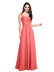 cheap -A-Line Straps Floor Length Chiffon Bridesmaid Dress with Criss Cross / Ruched