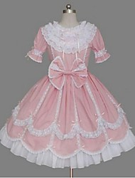 cheap -Princess Sweet Lolita Dress Women's Girls' Cotton Japanese Cosplay Costumes Pink Solid Colored Bowknot Cap Sleeve Short Sleeve Short / Mini / High Elasticity