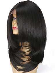 cheap -Synthetic Lace Front Wig Straight Yaki Straight Yaki Bob Layered Haircut L Part Wig Medium Length Black#1B Dark Wine Medium Brown / Dark Auburn Purple Synthetic Hair Women's Middle Part Bob Natural