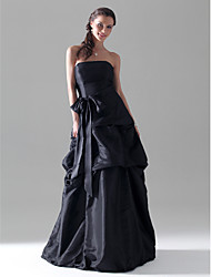 cheap -A-Line / Ball Gown Strapless Floor Length Taffeta Bridesmaid Dress with Bow(s) / Pick Up Skirt / Sash / Ribbon