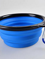 cheap -Dog Feeders Silicone Solid Colored Red Green Blue Bowls & Feeding