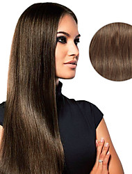 cheap -Clip In Human Hair Extensions Straight Human Hair Extensions Human Hair Women's - Chestnut Brown