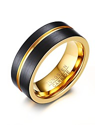 cheap -Men's Ring Groove Rings Assorted Color Gold / Black Stainless Steel Tungsten Steel Round Circle Geometric Personalized Basic Simple Style Party Anniversary Jewelry Two tone