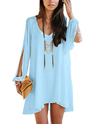 cheap -Women's Daily Weekend Batwing Sleeve Oversized Blouse - Solid Colored V Neck Light Green / Summer / Sexy