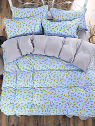cheap -Floral 4 Piece Polyester Reactive Print Polyester 1pc Duvet Cover 2pcs Shams 1pc Flat Sheet