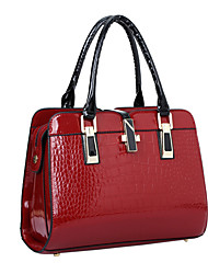 cheap -Women's Patent Leather Top Handle Bag Solid Colored Black / Wine / Blue