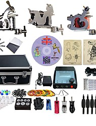 cheap -BaseKey Professional Tattoo Kit Tattoo Machine - 3 pcs Tattoo Machines, Professional Alloy 20 W LED power supply 3 steel machine liner & shader / Case Included