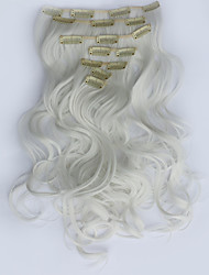 cheap -7pcs/Set 130g White 50cm Hair Extension Clip In Synthetic Hair Extensions