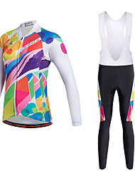 cheap -Miloto Women's Long Sleeve Cycling Jersey with Bib Tights - Black Bike Clothing Suit Breathable 3D Pad Quick Dry Reflective Strips Sweat-wicking Sports Polyester Lycra Painting Mountain Bike MTB Road