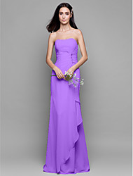 cheap -Sheath / Column Strapless Floor Length Chiffon Bridesmaid Dress with Crystals / Cascading Ruffles