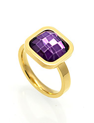 cheap -Women's Band Ring AAA Cubic Zirconia Purple Red Blue Cubic Zirconia Titanium Steel Square Cut Personalized Geometric Unique Design Christmas Gifts Wedding Jewelry