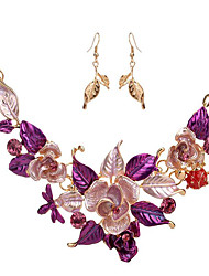 cheap -Women's Vintage Necklace Flower Flower Ladies Earrings Jewelry Purple / Blue For Wedding Party Special Occasion Gift Daily Masquerade