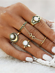 cheap -Women's Ring Rings Set 5pcs Gold Silver Synthetic Gemstones Zinc Alloy Opal Round Circle Geometric Ladies Unusual Geometric Christmas Gifts Wedding Jewelry Flower Anchor