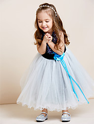 cheap -A-Line Tea Length Tulle / Sequined Sleeveless Jewel Neck with Sash / Ribbon / Sequin / Draping / Mini Me