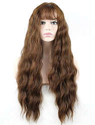 cheap -Synthetic Wig Wavy Wavy With Bangs Monofilament L Part Wig Long Brown Synthetic Hair Women's Brown