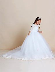 cheap -Ball Gown Sweep / Brush Train Flower Girl Dress - Lace / Tulle Half Sleeve Off Shoulder with Appliques / Lace / First Communion